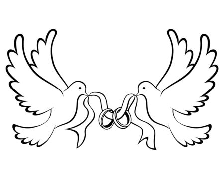 Colombe de mariage avec la silhouette de l'icône de l'anneau