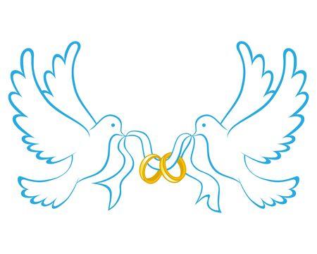 Hochzeit Taube mit Ringsymbolfarbe Vektorgrafik