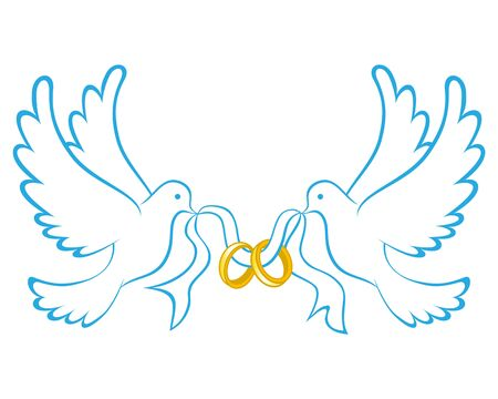 Wedding Dove With Ring Icon Color Ilustrace