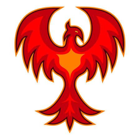 Phoenix Bird Logo Icon Red Color