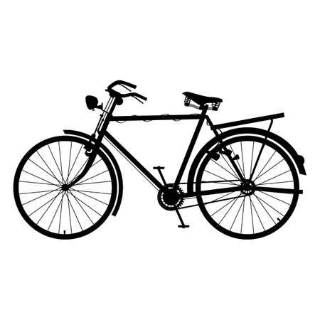 Classic Bicycle Icon Silhouette Detailed Bike Black Color