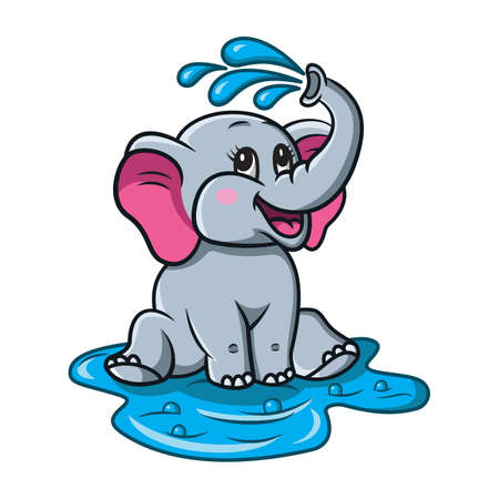 Cute and Funny cartoon baby elephant take shower which pours himself with water