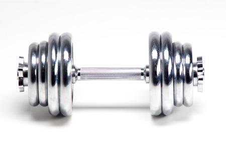 Chrome Weights dumbbells, isolated on white background photo