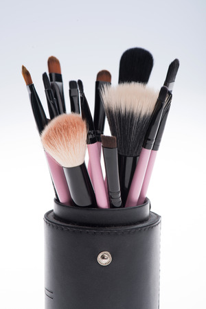 applicator: Close-up of Set of 14 professional  different sizes make-up brushes with natural  black and brown bristle,  black ferrule, pink handle  in black tube isolated on white background Stock Photo
