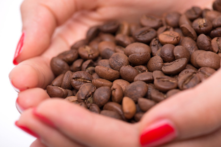 hardships: Woman hands together holding a pile of roasted coffee beans isolated on white background