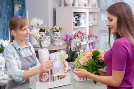 suggests: Greeting card to say special person. Florist suggests a greeting card to add to the beautiful floral arrangement which holds a client