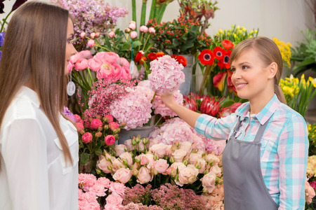 freshest: Only freshest flowers at our store. Florist talking to the customer surrounded by beautiful flowers Stock Photo