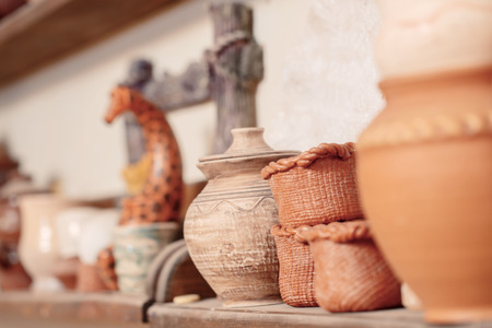 World of ceramic. Still life of different pottery pieces of art photo