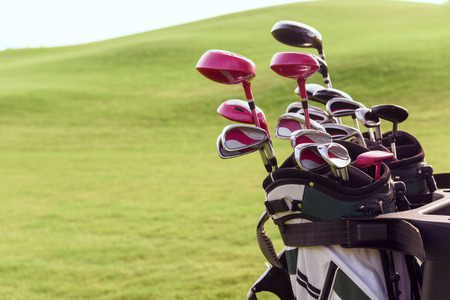 Fully equipped. Close up of bag full of different golf clubs on background of green course.