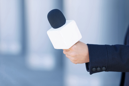 Basic recording tool. A close up of the main working tool for a usual reporter. Stock Photo