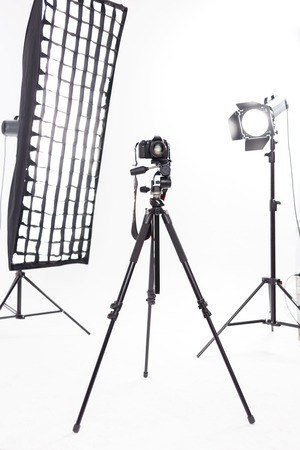 inanimate: Main photography tools. Professional photography equipment rests inside workroom waiting to be used.