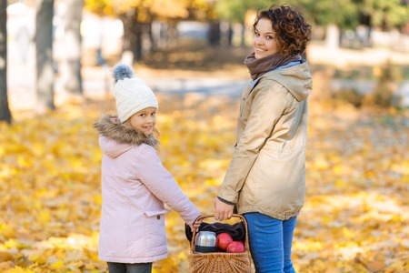 upbeat: It is a nice day. Agreeable smiling upbeat other and daughter holding basket and walking in  park while going to have picnic Stock Photo