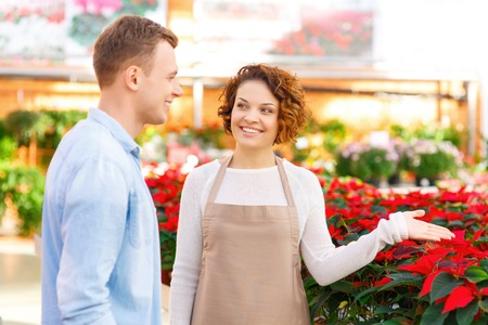 florae: Working with client. Positive female florist is demonstrating various flower breeds to her client.