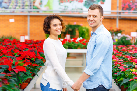 florae: Happy people. Lovely young family is smiling and holding hands in the greenhouse.