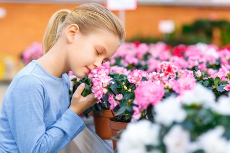 sniff: Sniff up the scent. Little girl squatting down and inhaling a pleasant flower smell.