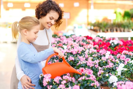 water plants: Watering plants. Little girl helps florist to water some flowers. Stock Photo
