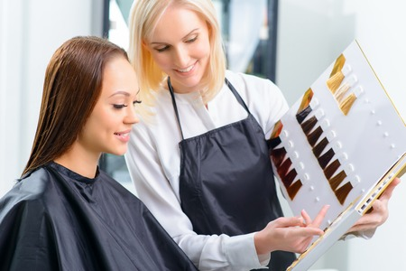 hairstylists: Choosing the color. Stylist is helping her customer to choose the most perfect hair tint.