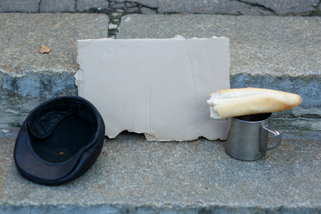 beggars: Beggars kit. Close up of things in possession of homeless person. Stock Photo