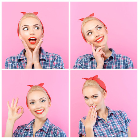 Bright model. Collage of young attractive girl mimicking amusingly in vintage style.
