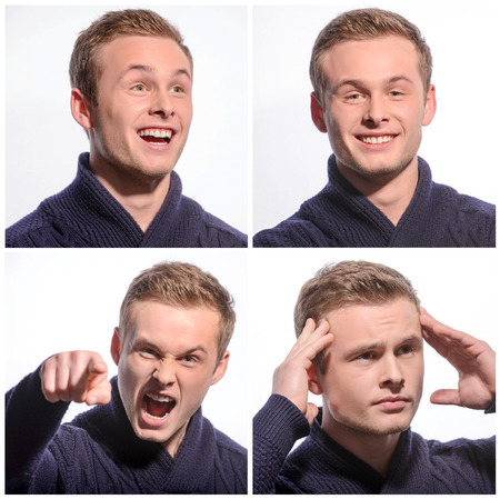 pleasant emotions: Live fully. Collage of portraits of young pleasant man expressing emotions Stock Photo
