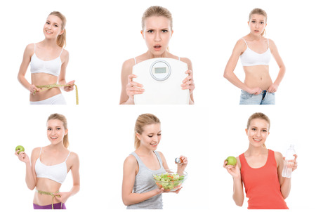 womankind: Fitness girl. Collage of young slim attractive girl follows a diet and looks concerned with her weight.
