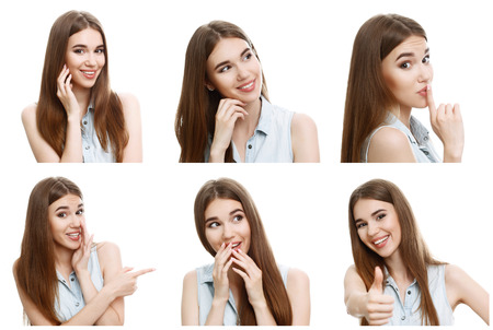 womankind: Positive emotions. Collage of young nice-looking girl mimics in extremely amusing and positive way. Stock Photo