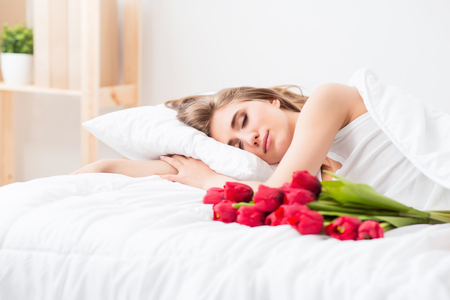 pleasant: Pleasant morning, Pleasant charming woman lying in bed while having a nice sleep