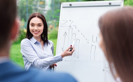 important information: Important information. Positive charming smiling woman showing graph on the board to her colleagues while working together on the project Stock Photo