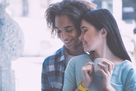 love very: My love. Close up of positive and lovely young couple being very romantic Stock Photo