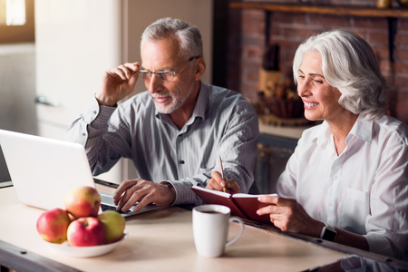 Working mood. Senior couple sitting at the kitchen table looking at something on a laptop and smiling Reklamní fotografie