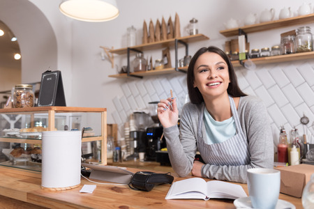 Work ideas. Cheerful pleased young woman smiling and taking notes while working at the counter in a cafe.