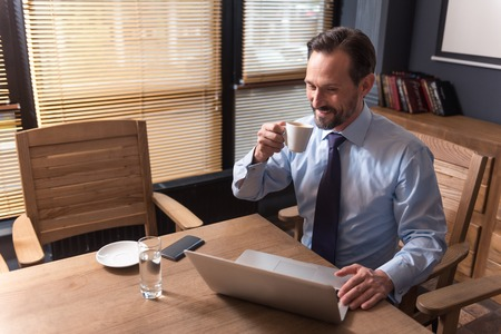 hard working: Morning coffee. Nice cheerful hard working man holding a cup and drinking coffee while working on the laptop