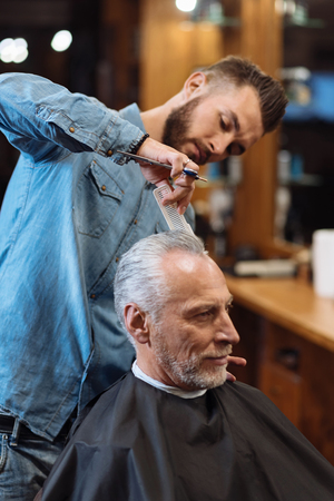 manhood: Really accurate. Nice handsome bearded hairdresser standing and styling hair of senior barbershop visitor.