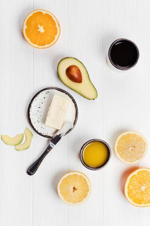 balanced: Balanced healthy breakfast with fruits