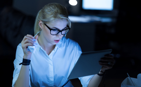 Involved IT specialist working in the office Stock Photo