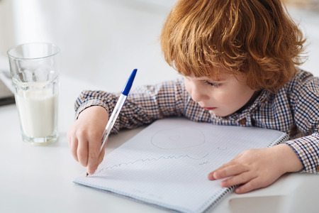 diligent: Creative clever boy making a drawing