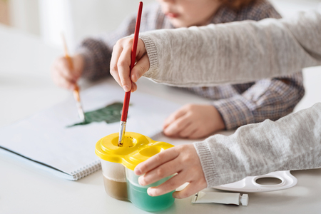 Talented creative children doing art together Stock Photo