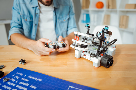 Professional engineer working with robotic tecnologies