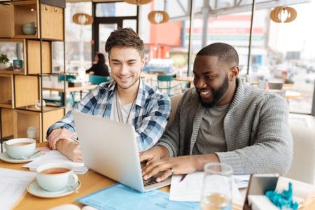 Positive students workign together