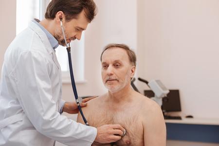 gerontology: Mature handsome man seeking consultation
