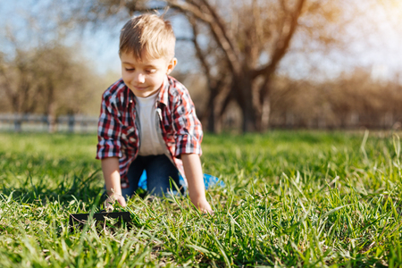 environmentalist: Cheerful boy crawling on hands and knees in backyard