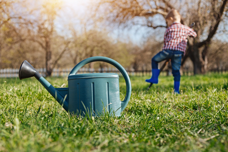 environmentalist: Scaled up shot of watering can on grass