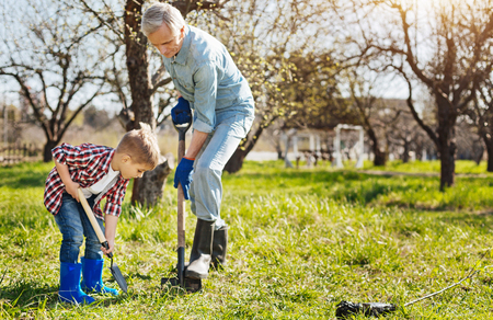 environmentalist: Grandfather and child planting tree together Stock Photo