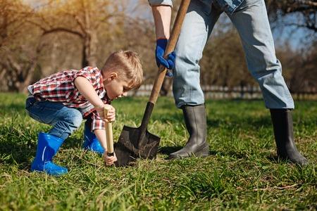 Scaled up shot of little family helper in garden