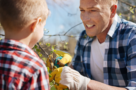 Mature man teaches son how to prune trees