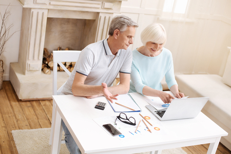 information age: Cheerful aged couple working on business assignment together Stock Photo