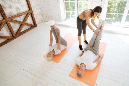 Top view photo of training for mature people