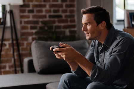 Playful committed guy determined to win