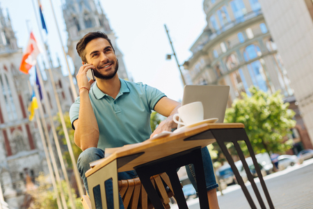 Persuasive energetic man discussing project with a client Stock Photo