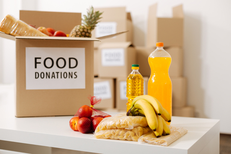 Grey big box packed with food donations